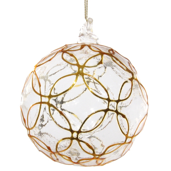 Floral glass ball gold 10cm