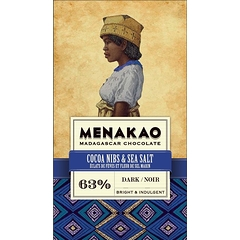Black Chocolate Menakao 63% - Cocoa nibs & sea salt
