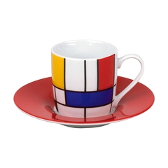 Set 2 Tasses Espresso Mondrian - Soucoupes rouges