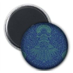 Round Magnet Mad Pattern Blue Green